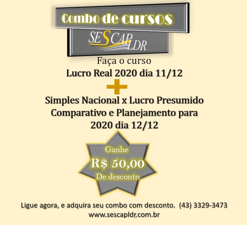 Combo Promocional Lucro Real 2020 E Simples Nacional x Lucro Presumido Comparativo e Planejamento para 2020